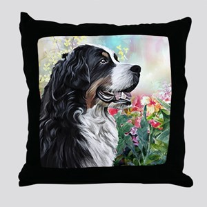 Bernese Mountain Dog Painting Throw Pillow